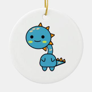 Thoughtful Blue Dinosaur Kawaii Cartoon Christmas Ornament