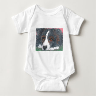 Thoughtful Border Collie Dog Baby Bodysuit