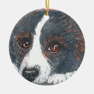 Thoughtful Border Collie Dog Christmas Ornament