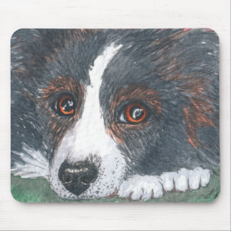 Thoughtful Border Collie Dog Mouse Mat