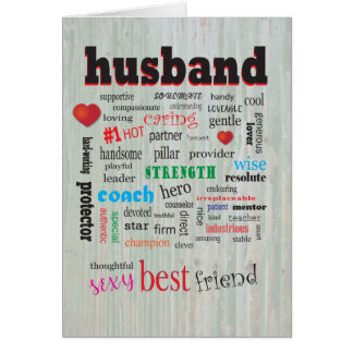 Thoughtful Caring Husband Word Cloud Card