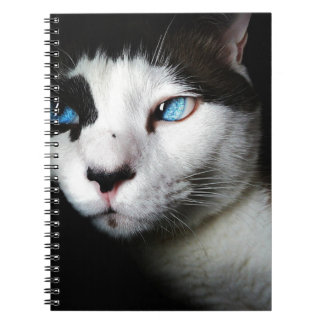 Thoughtful cat against moody backdrop spiral notebook