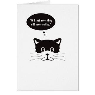 Thoughtful Cute Black Cat Greeting Card