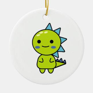 Thoughtful Green Dinosaur Kawaii Cartoon Christmas Ornament