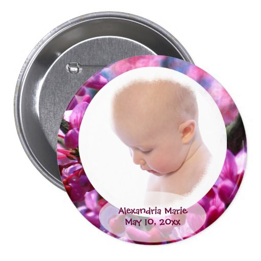 Thoughtfulness BABY GIRL Personalized Photo Button