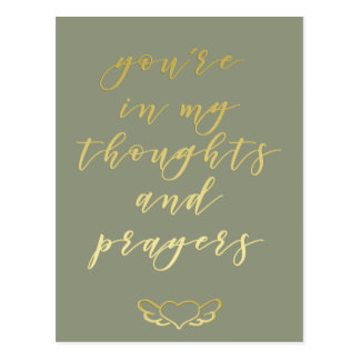 Thoughts & prayers - Gold brush script Postcard