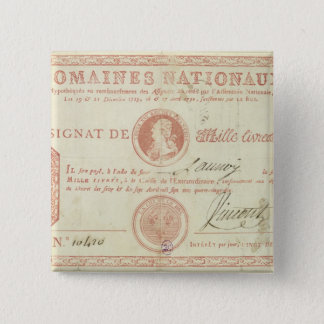 Thousand livre banknote with Louis XVI's 15 Cm Square Badge