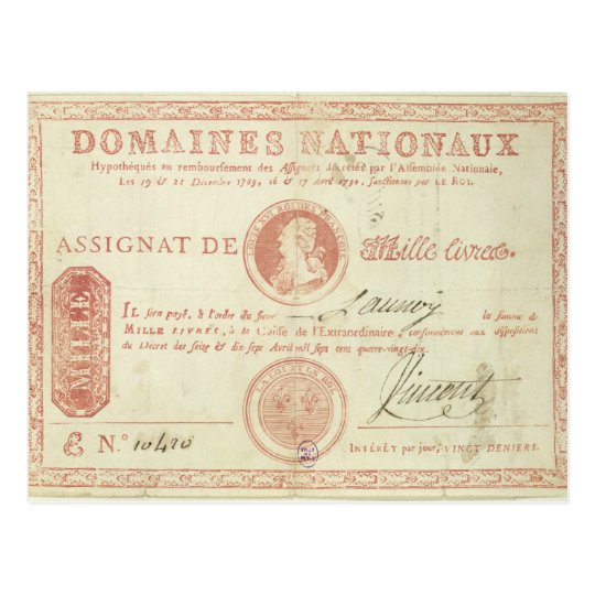 Thousand livre banknote with Louis XVI's Postcard