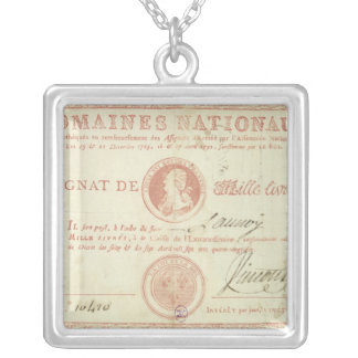 Thousand livre banknote with Louis XVI's Silver Plated Necklace