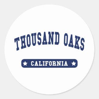 Thousand Oaks California College Style tee shirts Round Sticker