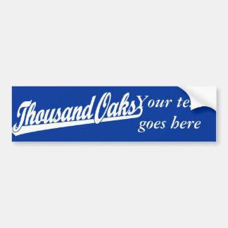 Thousand Oaks script logo in white Bumper Sticker