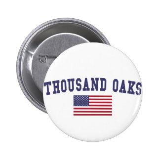 Thousand Oaks US Flag 6 Cm Round Badge