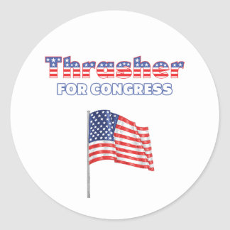 Thrasher for Congress Patriotic American Flag Desi Round Stickers