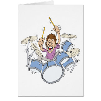 thrashing drummer greeting cards