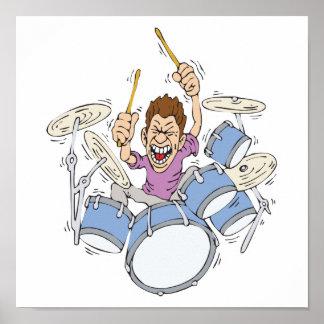 thrashing drummer poster