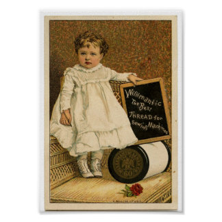 Thread Ad Victorian Baby Vintage Art Poster Print