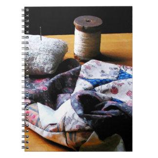 Thread, Pincushion and Cloth Spiral Notebook