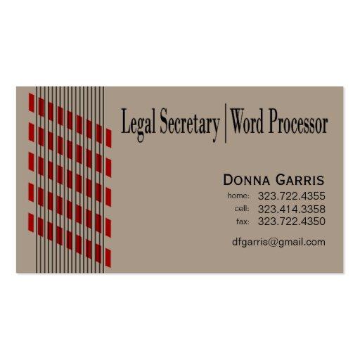 Threaded Ribbons Legal Secretary Word Processor Business Card Templates