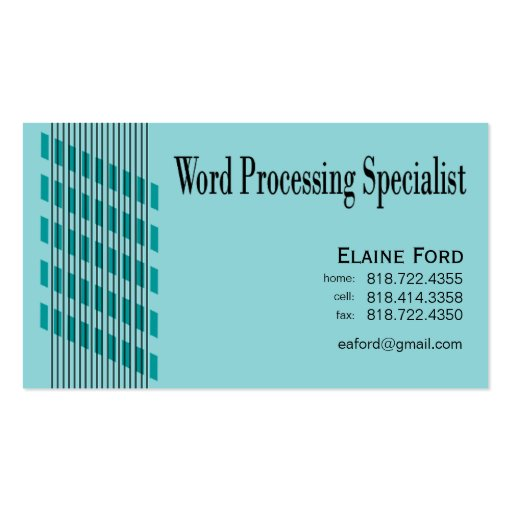 Threaded Ribbons Word Processing Specialist Expert Business Card