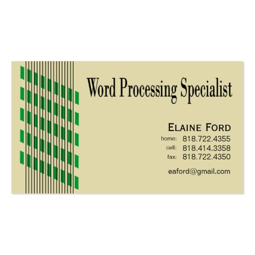 Threaded Ribbons Word Processing Specialist Expert Business Card Template