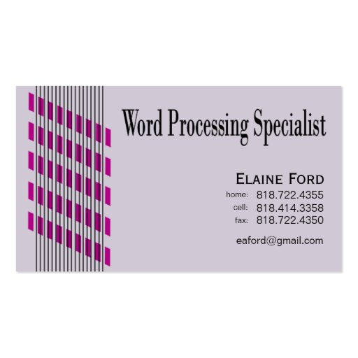 Threaded Ribbons Word Processing Specialist Expert Business Cards