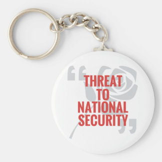 """""""Threat To National Security"""" Basic Round Button Key Ring"""