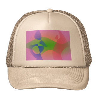 Three Abstract Objects on a Lavender Background Trucker Hats