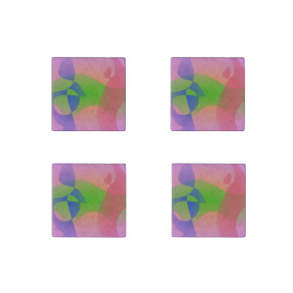 Three Abstract Objects on a Lavender Background Stone Magnet