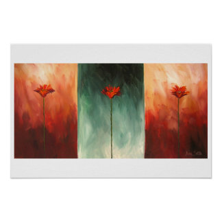 Three Abstract Poppies Poster