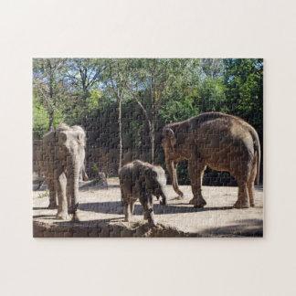 Three African Elephants Jigsaw Puzzle