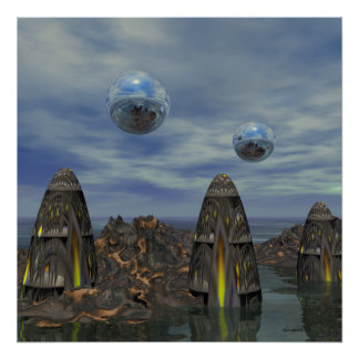 Three Alien Temples Science Fiction Art Poster