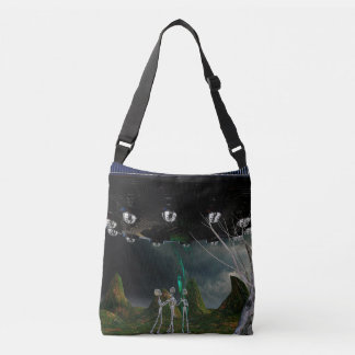 Three Aliens and a UFO Tote Bag