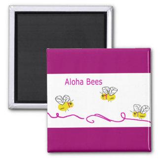 three aloha bees square magnet