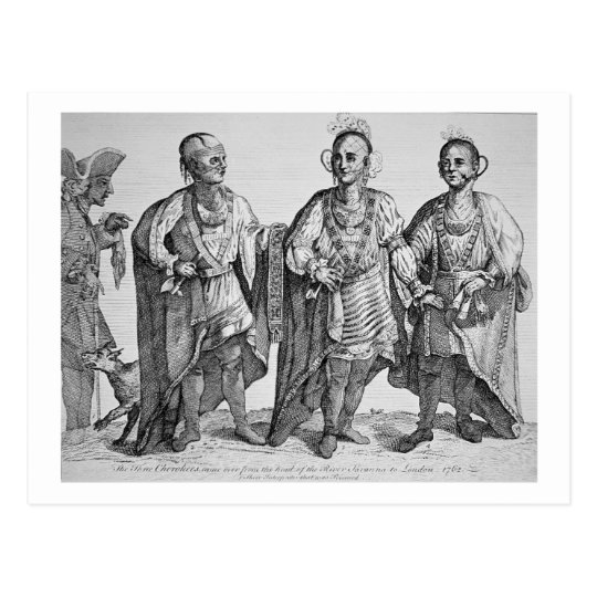 Three American Cherokee Chiefs, 1762 (engraving) Postcard