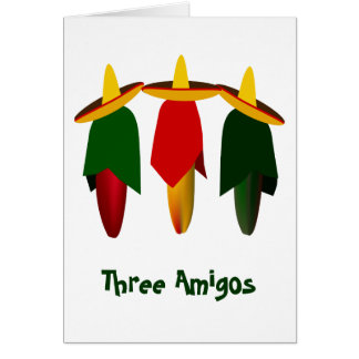 Three Amigo Hot Peppers Greeting Card