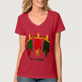 Three Amigo Hot Peppers Ladies Red T-shirt