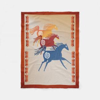 Three Ancient Horses Fleece Blanket