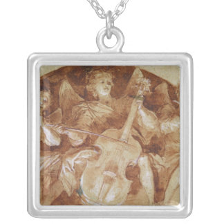 Three Angel Musicians Silver Plated Necklace