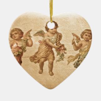 Three Angels (Antique) Ceramic Heart Decoration