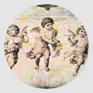 Three Angels (Antique) Classic Round Sticker