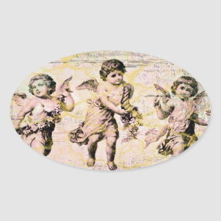 Three Angels (Antique) Oval Sticker
