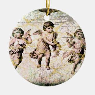 Three Angels (Antique) Round Ceramic Decoration