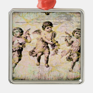 Three Angels (Antique) Silver-Colored Square Decoration