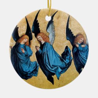THREE ANGELS Blue Sapphire Christmas Ornament