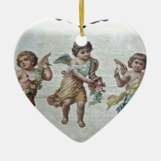 Three Angels (Colour) Ceramic Heart Decoration