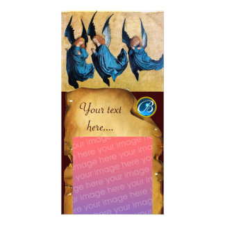 THREE ANGELS IN BLUE  PARCHMENT Sapphire Monogram Photo Card