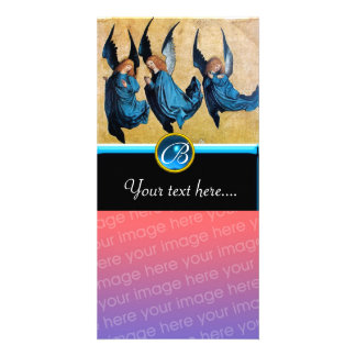 THREE ANGELS IN BLUE Sapphire Monogram Personalized Photo Card