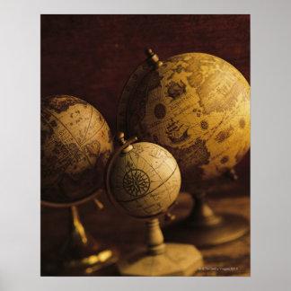 Three antique globes poster