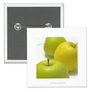 Three apples, close-up 15 cm square badge