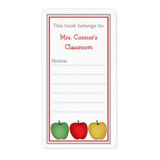 Three Apples school bookplates for teacher